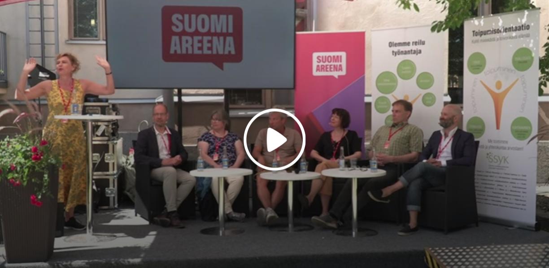 Toipumisorientaatio - Mielenterveystyön uusi suunta? -keskustelutilaisuus kesän 2019 SuomiAreenassa. Kuvakaappaus videoidusta keskustelusta.